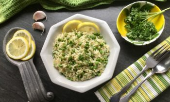 Lemon Garlic Orzo with Peas