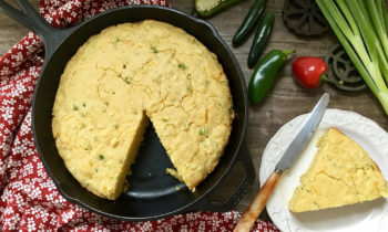 Skillet Cornbread with Cheddar, Jalapeño & Green Onions